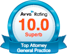 Avvo Rating 10.0 Superb Top Attorney General Practice
